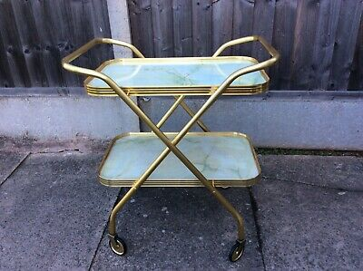 Vintage Retro Folding Gold Marble Tea Trolley
