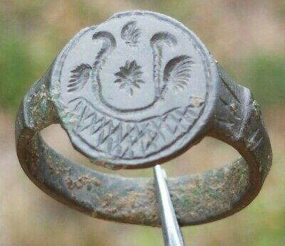 Double Head Eagle Ancient Byzantine Billon  Ring