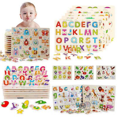 Child Baby Toddler Jigsaw Kid Puzzle Alphabet Letters Animal Wooden Learning Toy