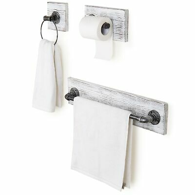 3-Piece Wall-Mounted Whitewashed Wood & Metal Pipe Bathroom Accessory Set