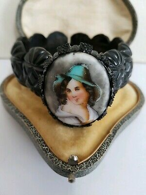 Antique Victorian  Whitby Jet / Painted   Cameo  Cuff Bracelet 1880  Goth  Mourn