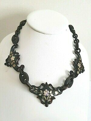 Antique. Victorian Jet Unusual Faux Tortoiseshell /Mother Of Pearl Necklace Goth