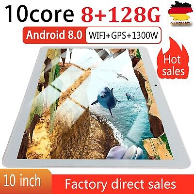 10,1 Zoll Tablet Android 8.0 Bluetooth PC 8 + 128G ROM 2 SIM mit GPS Tablette DE