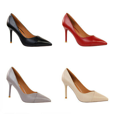 Ladies Pointed Toe Work Office Court Shoes Women High Heels Stiletto Smart Pumps