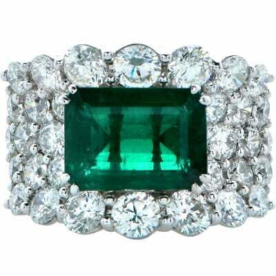 Beautiful Emerald Shape 8.12CT Emerald With Round White Stunning 925 Silver Ring