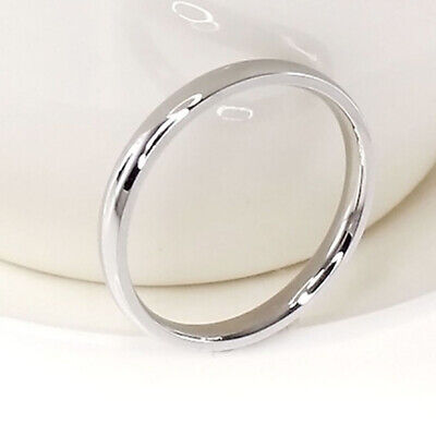 4mm Women Stainless SteelPolished Wedding Engagement Band Ring Silver Size13