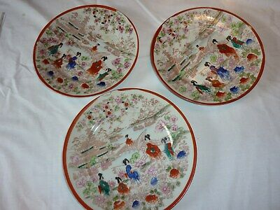 3 Vintage Nippon  Handpainted Porcelain Geisha Girl Plates Serving