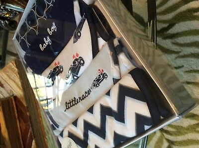 "NEW NIB Wendy Bellissimo™ Boy's 5 Pack Feeding Bibs ""Baby Boy, Little Racer"""