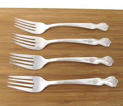 Wm Rogers Extra Plate Magnolia Set of 4 Salad Forks Silverplate Dessert