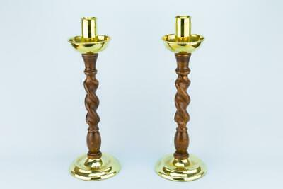 2 Tall Candlesticks Arts Crafts Barley Twist Carved Oak Column Brass