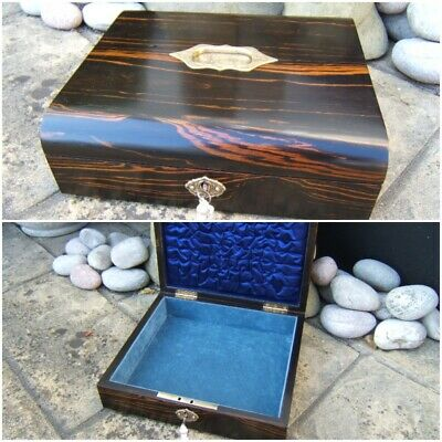 SUPERB LARGE 19c CORROMANDEL ANTIQUE DOCUMENT/JEWELLERY BOX  FAB INTERIOR