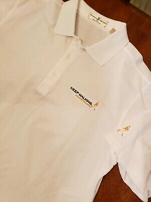 "NWOT Johnnie Walker ""Keep Walking"" Polo Golf Shirt Size L White Bartender"