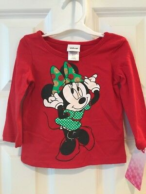 NWT Disney Minnie Mouse Girls Red Long Sleeve T-Shirt size 12 Months Christmas