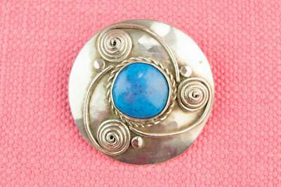 Brooch Sterling Silver Turquoise Arts & Crafts Antique English Edwardian Early 1