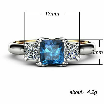 Elegant Rings Women Blue Sapphire Silver plated Jewelry Wedding Ring Size 6-10