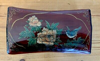 Antique Vintage Large Chinese Red Lacquer Pillow Box Birds Fauna