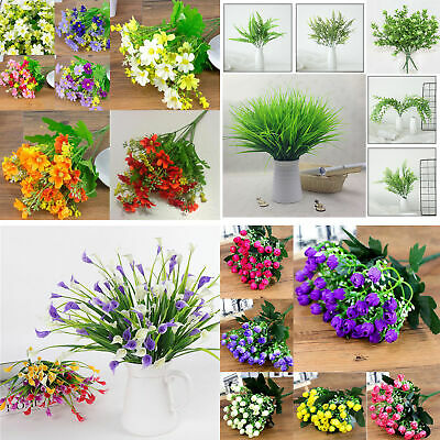 Plastic Artificial Flowers Fake False Plants Grass Garden Lily Tulip In/OutdoorK