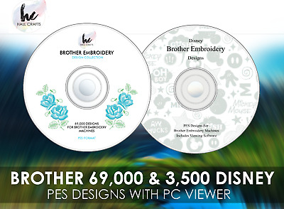 73,000+ Brother Embroidery Designs + Disney PES 2 DVD Set + PC Viewing Software