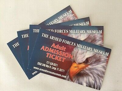 Armed Forces Military Museum Lot Of 4 Adult Admission Tickets Largo, Florida