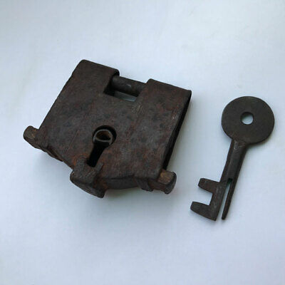 Padlock lock with key, Old or antique, IRON, Rich Patina, BARBED SPRING