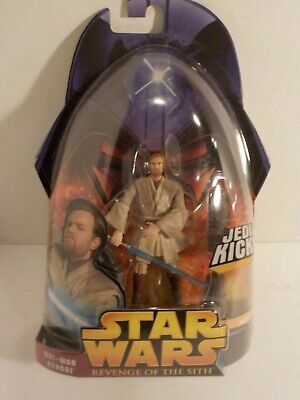 STAR WARS ROTS EPIII OBI-WAN KENOBI Kick Action Jedi Master SEALED MOC 3.75 #27