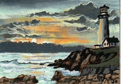 "aceo original acrylic painting ""Lighthouse at Dawn"" by J. Hutson"