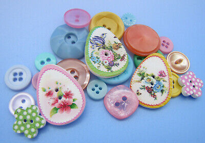 VINTAGE & NEW Lot Theme Buttons EASTER EGG Spring Mix Pink Blue Yellow Lavender