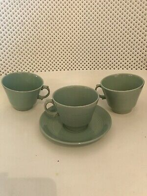 Woods Ware Beryl Tea Cup And Saucer And 2 Spare Cups
