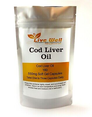 Live Well Cod Liver Oil 550mg  Soft Gel  Capsules, Tasteless, Free UK Postage
