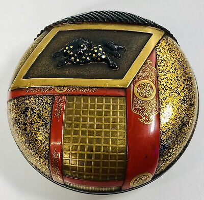 Antique 19th Century Japanese Lacquer And Mixed Metals Round Trinket Box
