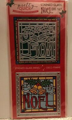 NOEL Die Set - Stained Glass Panel And Deco Frame - New - Unopened - Christmas