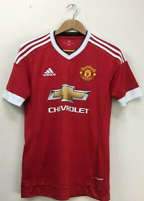 Manchester United Red Adidas 2015/2016 Chevrolet Home Football Shirt XS 36""