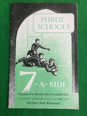 Rugby Union programme Public Schools Rosslyn Park Richmond 1952