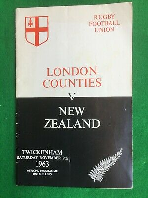 Rugby Union programme Twickenham London Counties v New Zealand 9th November 1963