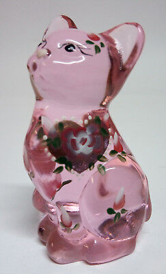"Fenton Art Glass Cat Pink Chiffon ""Hugs for You"" Hand Painted with Original Box"