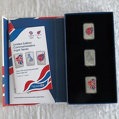 UK 2012 OLYMPIC TEAM GB AND PARALYMPICS GB 3 X SILVER PROOF INGOT SET - complete