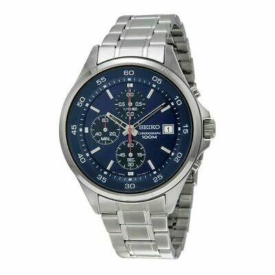 Seiko SKS475 Men's Blue Dial Chronograph Stainless Steel Analog Quartz Watch