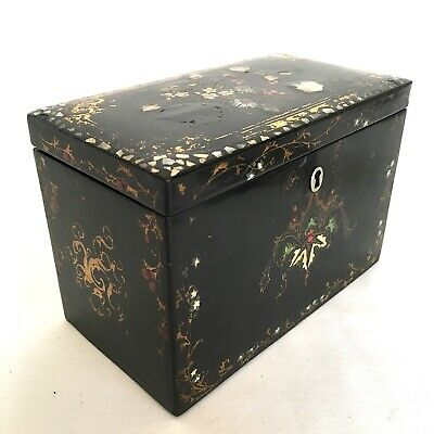 VICTORIAN Lacquered Floral Design Twin Compartment Tea Caddy