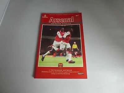 Football Programme - Carling Cup - Arsenal vs Tottenham Hotspur  31/1/2007 Spurs