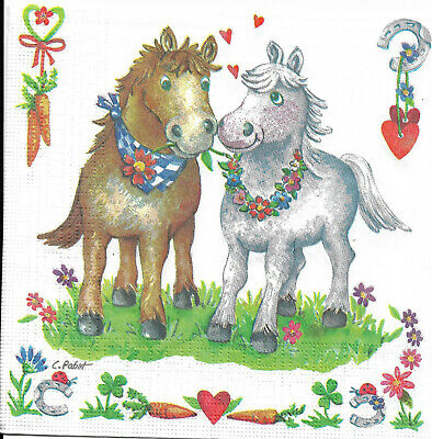 Lot de 2 Serviettes en papier Couple de Chevaux Decoupage Collage Decopatch