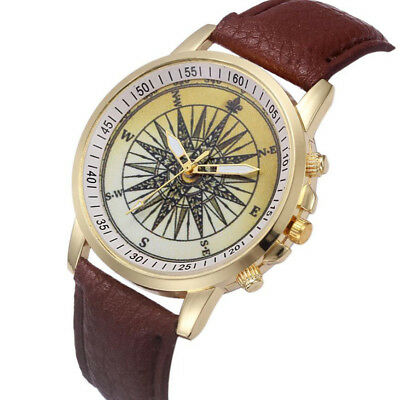 Women's girl's gold dial luxury vintage synthetic leather quartz wrist watch