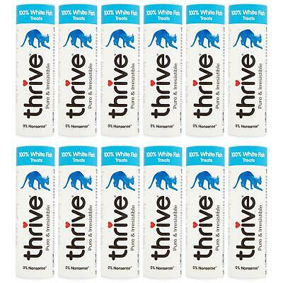 12 X Thrive Chat 100% Blanc Poisson Friandise Snack Tube 15g, Real Naturel Gel
