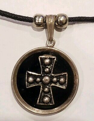 Vintage 925 Sterling Silver Cross Pendant Rope Necklace