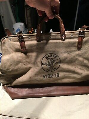 "Old Klein Tools 5102 - 18"" Heavy Duty Canvas Tool Bag w/Leather Straps & Handles"