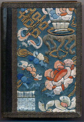 Antique Chinese Silk Embroidery with Gold Thread: Dictionary Bookwrap 1918