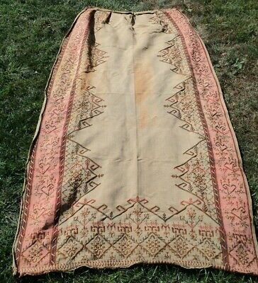 Vtg Antique 19th Century Victorian Curtain Drapes Embroidered Needlepoint Panel