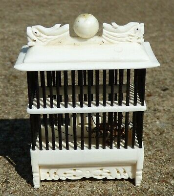 Rare ANTIQUE QING DYNASTY CHINESE EBONY CRICKET HOUSE CAGE with CRICKET DECOY