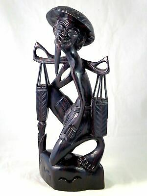 """Vtg ASIAN CHINESE Carved Ebony Wood Statue Figure FISHERMAN WITH BASKETS 17.5"""""""