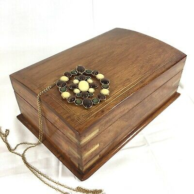 Vintage Quality Jewellery Box Brass Inlaid SECRET LOCK Fitted & Contents