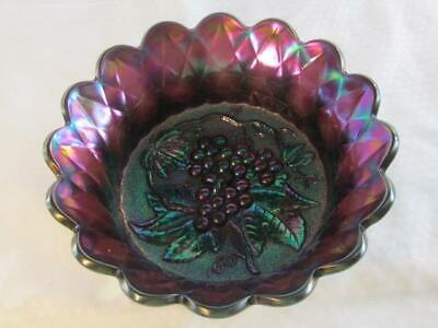 "Vintage Imperial Purple Amethyst Carnival Glass - Heavy Grape 9"" Berry Bowl"